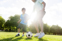 Soccer Football Field Father Son Activity Summer Concept Royalty Free Stock Photography