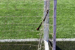 Soccer football field gate mesh. Soccer football field, gate mesh Stock Photos