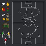 Soccer football field with icon set Royalty Free Stock Images