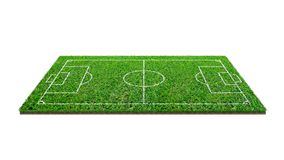 Soccer football field isolated on white background with clipping path. Soccer stadium background with line pattern and of green. Lawn field stock photography