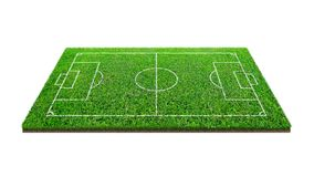 Soccer football field isolated on white background with clipping path. Soccer stadium background with line pattern and of green. Lawn field royalty free stock image