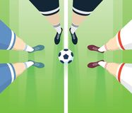 Soccer / Football Field With Players Foots In Boots. Referee With Two Players Top View. Long Perspective. Sport Vector Illustration Royalty Free Stock Images
