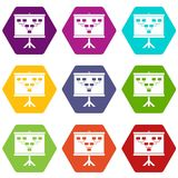 Soccer or football field scheme icon set color hexahedron Stock Photography