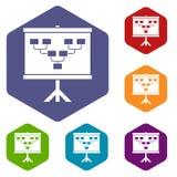 Soccer or football field scheme icons set hexagon Stock Image