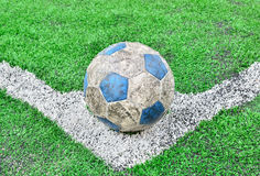 Soccer football field stadium grass line and ball Royalty Free Stock Photos