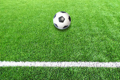 Soccer football field stadium grass line ball background Stock Photo