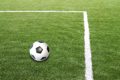 Soccer football field stadium grass line ball Royalty Free Stock Image