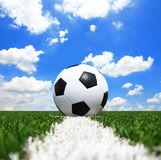 Soccer football field stadium grass line ball Royalty Free Stock Images