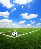 Soccer football field stadium grass line ball background Royalty Free Stock Images