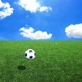Soccer football field stadium grass line ball background Stock Image