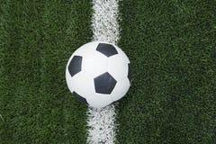 Soccer football field stadium grass line ball background Royalty Free Stock Photos