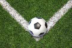 Soccer football field stadium grass line ball background texture Royalty Free Stock Images