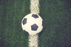 Soccer football field stadium grass line ball Stock Photo