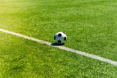 Soccer football field stadium grass line. Sport background.  Stock Images