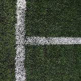 Soccer or football field with white Limit lines Royalty Free Stock Images