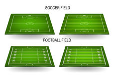 Soccer and football fields set Royalty Free Stock Images