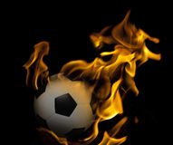 Soccer football on fire Stock Photography