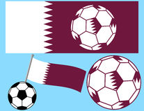 Soccer Football with Flag of Qatar Stock Photography