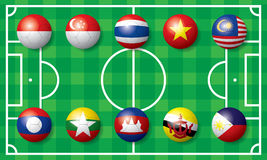 Soccer football Flag of South East Asia. The abstract of Soccer football Flag in South East Asia Stock Images