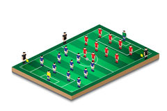 Soccer football formation in green field. Soccer football team formation in mini green field Royalty Free Stock Image