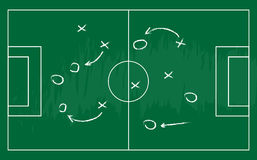 Soccer or football game strategy plan. Realistic blackboard. Vector illustration Royalty Free Stock Images