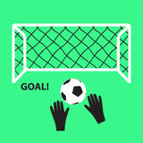 Soccer and football goal with ball and hands eps10 Stock Image