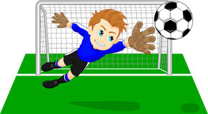 Soccer football goal keeper saving a goal Stock Photo