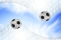 Soccer football in Goal Royalty Free Stock Image