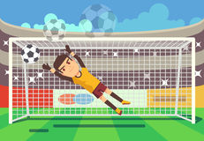 Soccer, football goalkeeper catching ball in goal vector illustration Royalty Free Stock Photos