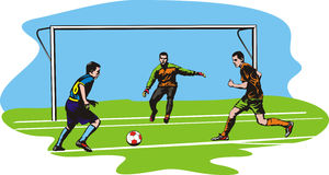 Soccer, football - goalmouth action Royalty Free Stock Images