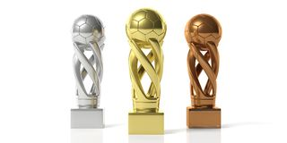 Soccer football golden, silver and bronze trophies isolated on white background. 3d illustration. Soccer winners. Soccer football golden, silver and bronze Royalty Free Stock Photo