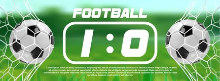 Soccer or Football Green Banner With 3d Ball and Scoreboard on white background. Soccer game match goal moment with ball. In the net Royalty Free Stock Image