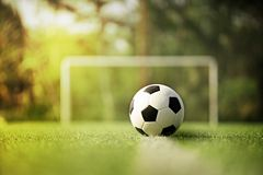 Soccer or Football on green field. With sunset or sunrise background Royalty Free Stock Photography