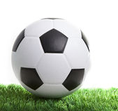 Soccer football on green grass stock photos
