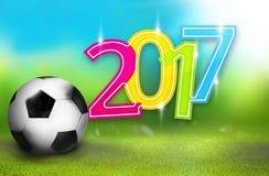 2017 soccer football green grass blue sky Royalty Free Stock Image