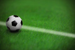 Soccer football on green grass in stadium  with wh Stock Images