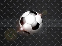 Soccer football grunge on black metallic plate Stock Photo