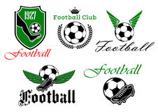Soccer and football heraldic icons Stock Image