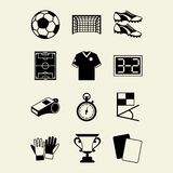 Soccer (football) icon set in flat design style Stock Photos