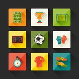 Soccer (football) icon set in flat design style Royalty Free Stock Photography