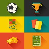Soccer (football) icon set in flat design style Stock Image