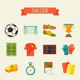 Soccer (football) icon set in flat design style Stock Photography