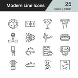 Soccer or football icons. Modern line design set 25. For present. Ation, graphic design, mobile application, web design, infographics. Vector illustration Royalty Free Stock Photography