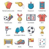 Soccer football icons set, cartoon style. Soccer football icons set. Cartoon illustration of 16 soccer football vector icons for web Royalty Free Stock Photography