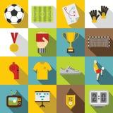 Soccer football icons set, flat style Royalty Free Stock Image