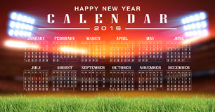 Soccer and football illustration background. Calendar 2016 and happy new year Royalty Free Stock Images