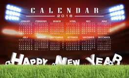 Soccer and football illustration background. Calendar 2016 and happy new year Royalty Free Stock Photos