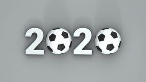 2020 soccer or football illustration. 3D-rendering.