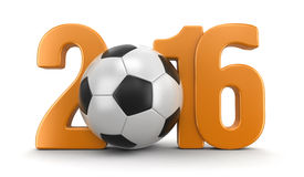 Soccer football with 2016. Image with clipping path Stock Photo
