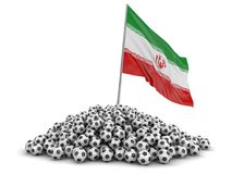 Soccer football with Iranian flag. Image with clipping path Stock Photography